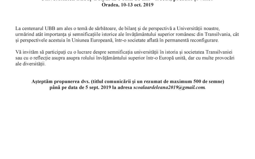Universitatea Babeș-Bolyai la o sută de ani – trecut, prezent și viitor – Oradea, 10-13 oct. 2019